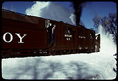 A 3/4 side-view of rotary OY throwing snow.<br /> C&amp;TS  Chama, NM  prior to 2/1978