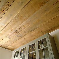 Close up of the kitchen ceiling which is made of unstained cypress wood