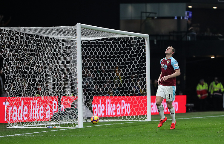 Burnley's Chris Wood despairs after having a goal attempt ruled out for offside<br /> <br /> Photographer Andrew Kearns/CameraSport<br /> <br /> The Premier League - Watford v Burnley - Saturday 19 January 2019 - Vicarage Road - Watford<br /> <br /> World Copyright &copy; 2019 CameraSport. All rights reserved. 43 Linden Ave. Countesthorpe. Leicester. England. LE8 5PG - Tel: +44 (0) 116 277 4147 - admin@camerasport.com - www.camerasport.com