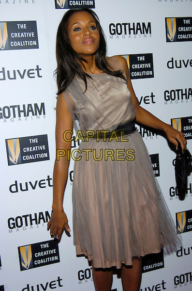 KERRY WASHINGTON.Creative Coalition Gala, Spotlight Awards and Christopher Reeve First Amendment Award at Duvet, New York, NY, USA,18 December 2006..half length grey dress black sash funny.CAP/ADM.©Bill Lyons/Admedia/Capital Pictures *** Local Caption ***