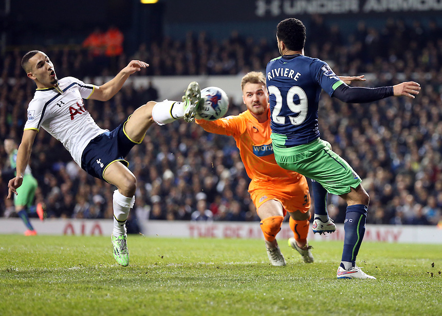 Tottenham Hotspur's Nabil Bentaleb scores<br /> <br /> Photo by KieranGalvin/CameraSport<br /> <br /> Football - Capital One Cup - Quarter-Final - Tottenham Hotspur v Newcastle United - Wednesday 17th December 2014  - White Hart Lane - London<br />  <br /> &copy; CameraSport - 43 Linden Ave. Countesthorpe. Leicester. England. LE8 5PG - Tel: +44 (0) 116 277 4147 - admin@camerasport.com - www.camerasport.com