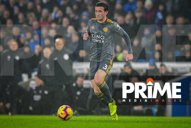 Ben Chilwell of Leicester City (3) during the Premier League match between Brighton and Hove Albion and Leicester City at the American Express Community Stadium, Brighton and Hove, England on 24 November 2018. Photo by Edward Thomas / PRiME Media Images.