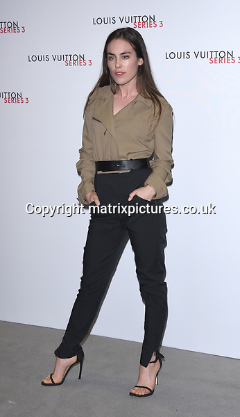 NON EXCLUSIVE PICTURE: MATRIXPICTURES.CO.UK<br /> PLEASE CREDIT ALL USES<br /> <br /> WORLD RIGHTS<br /> <br /> English model and actress Tallulah Harlech attending the Louis Vuitton Series 3 Exhibition launch party, in London. <br /> <br /> SEPTEMBER 20th 2015<br /> <br /> REF: SLI 152927