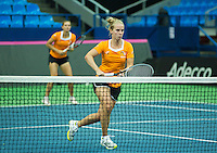 Moskou, Russia, Februari 4, 2016,  Fed Cup Russia-Netherlands,  Dutch team practise doubles Cindy Burger and Richel Hogenkamp (foreground)<br /> Photo: Tennisimages/Henk Koster