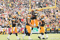 September 7, 2009; Hamilton, ON, CAN; Hamilton Tiger-Cats linebacker Ray Mariuz (44) celebrates a touchdown with teammates that was called back on penalties. CFL football - the Labour Day Classic - Toronto Argonauts vs. Hamilton Tiger-Cats at Ivor Wynne Stadium. The Tiger-Cats defeated the Argos 34-15. Mandatory Credit: Ron Scheffler.