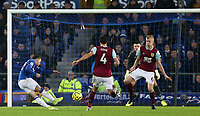 26th December 2019; Goodison Park, Liverpool, Merseyside, England; English Premier League Football, Everton versus Burnley; Bernard of Everton shoots at the Burnley goal from the edge of the penalty area - Strictly Editorial Use Only. No use with unauthorized audio, video, data, fixture lists, club/league logos or 'live' services. Online in-match use limited to 120 images, no video emulation. No use in betting, games or single club/league/player publications