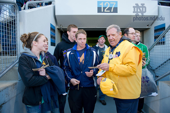 Sept. 22, 2012; Usher Thomas Ortwein assists fans to their seats prior to the game against Michigan at Notre Dame Stadium.  Photo by Barbara Johnston/University of Notre Dame
