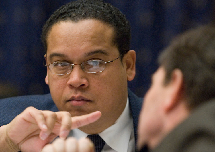 Rep. Keith Ellison, D-Minn., speaks with Rep. Ed Perlmutter, D-Colo., during the House Financial Services Committee hearing on the federal housing response to Hurricane Katrina on Tuesday., Feb. 6, 2007.