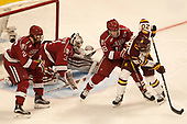 Jacob Olson (Harvard - 26), Merrick Madsen (Harvard - 31), Adam Fox (Harvard - 18), Karson Kuhlman (UMD - 20) - The University of Minnesota Duluth Bulldogs defeated the Harvard University Crimson 2-1 in their Frozen Four semi-final on April 6, 2017, at the United Center in Chicago, Illinois.
