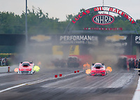 Jul 19, 2020; Clermont, Indiana, USA; NHRA funny car driver Bob Tasca III (left) alongside Matt Hagan during the Summernationals at Lucas Oil Raceway. Mandatory Credit: Mark J. Rebilas-USA TODAY Sports