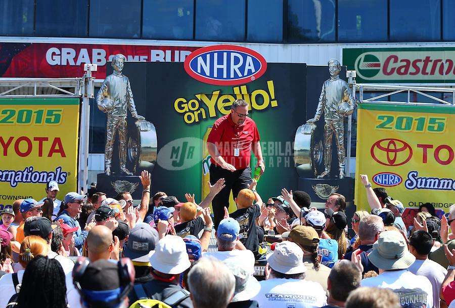 Jun 7, 2015; Englishtown, NJ, USA; NHRA Toyota staff during the Summernationals at Old Bridge Township Raceway Park. Mandatory Credit: Mark J. Rebilas-