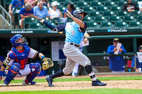 Colorado Springs Sky Sox outfielder Kyle Wren (5) swings at a pitch during a Pacific Coast League game against the Iowa Cubs on June 23, 2018 at Principal Park in Des Moines, Iowa. Colorado Springs defeated Iowa 4-2. (Brad Krause/Four Seam Images)