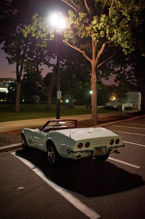 UNITED STATES - July 31:  A corvette is parked outside of Russell Building on a Sunday session as the Congress worked to reach a deal to raise the debt ceiling and lower the national debt.   (Photo By Tom Williams/Roll Call)
