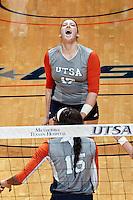 SAN ANTONIO, TX - OCTOBER 16, 2016: The University of Texas at San Antonio Roadrunners defeat the University of Texas at El Paso Miners 3-2 (23-25, 25-21, 25-23, 22-25, 15-7) at the UTSA Convocation Center. (Photo by Jeff Huehn)