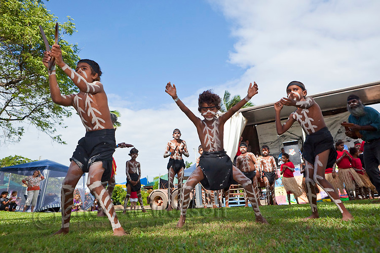 Indigenous dancers during the Cooktown Discovery Festival.  Cooktown, Queensland, Australia