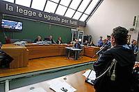 Processo ai boss del clan cammoristico dei Casalesi per le minacce allo scrittore di gomorra , Saviano<br /> nella foto Saviano in aula