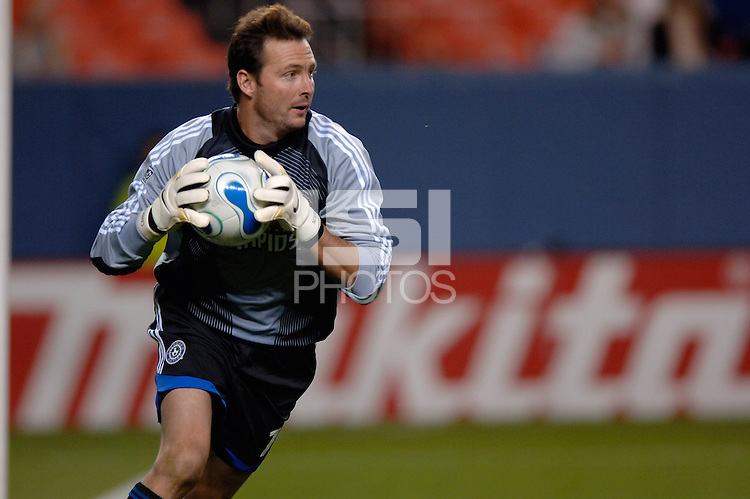Colorado Rapids goalkeeper Joe Cannon looks to spark a counterattack. The Houston Dynamo beat the Colorado Rapids 1-0 on a goal by Brian Ching, April 29, 2006, at Invesco Field at Mile High Stadium in Denver, Colorado.