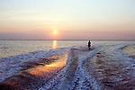waterski sunset