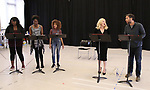 """Amma Osei, Amber Iman, Allison Semmes, Megan Hilty and Josh Radnor In Rehearsal with the Kennedy Center production of """"Little Shop of Horrors"""" on October 11 2018 at Ballet Hispanica in New York City."""