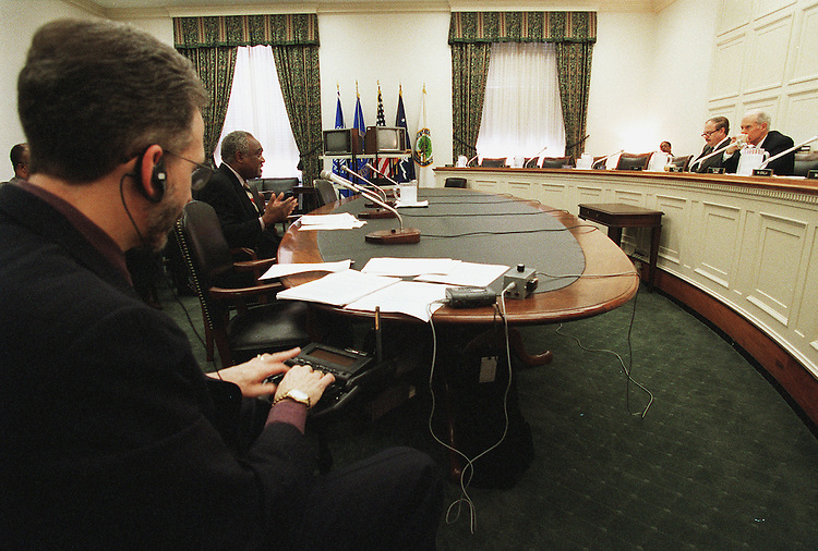 4/22/99.FISCAL 2000 LABOR-HHS APPROPRIATIONS-- Labor, Health and Human Services, and Education Subcommittee Chairman John Porter, R-Ill., far right, and witness Danny Davis, D-Ill., during hearing on Fiscal 2000 appropriations..CONGRESSIONAL QUARTERLY PHOTO BY SCOTT J. FERRELL .