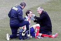Atletico de Madrid's Diego Godin injured during La Liga match.February 7,2015. (ALTERPHOTOS/Acero) /NORTEphoto.com