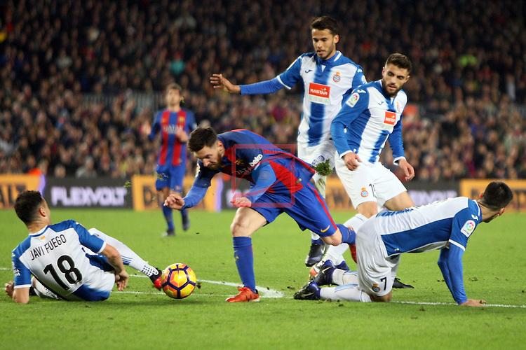 League Santander 2016/2017. Game: 16.<br /> FC Barcelona vs RCD Espanyol: 4-1.<br /> Diego Reyes, Lionel Messi, David Lopez &amp; Gerard Moreno.