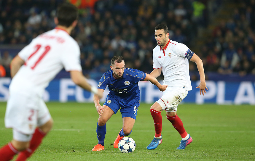 Leicester City's Daniel Drinkwater<br /> <br /> Photographer Stephen White/CameraSport<br /> <br /> UEFA Champions League Round of 16 Second Leg - Leicester City v Sevilla - Tuesday 14th March 2017 - King Power Stadium - Leicester <br />  <br /> World Copyright &copy; 2017 CameraSport. All rights reserved. 43 Linden Ave. Countesthorpe. Leicester. England. LE8 5PG - Tel: +44 (0) 116 277 4147 - admin@camerasport.com - www.camerasport.com