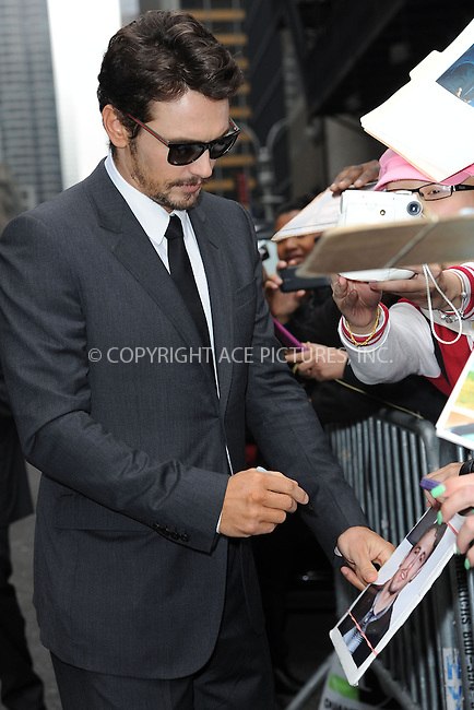 WWW.ACEPIXS.COM <br /> May 8, 2014 New York City<br /> <br /> James Franco after taping an appearance on the Late Show with David Letterman on May 8, 2014 in New York City.<br /> <br /> Please byline: Kristin Callahan...ACEPIXS.COM<br /> Tel: (212) 243 8787 or (646) 769 0430<br /> e-mail: info@acepixs.com<br /> web: http://www.acepixs.com