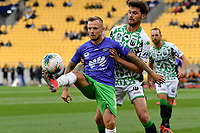 David Ball of Wellington Phoenix struggles to keep the ball from Oskar Dillon of Western United FC during the A League - Wellington Phoenix v Western United FC at Sky Stadium, Wellington, New Zealand on Friday 21 February 2020. <br /> Photo by Masanori Udagawa. <br /> www.photowellington.photoshelter.com