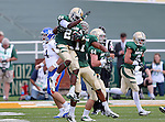 Baylor Bears cornerback Joe Williams (22) celebrates after scoring a touchdown during the game between the Kansas Jayhawks and the Baylor Bears at the Floyd Casey Stadium in Waco, Texas. Baylor leads Kansas 20 to 14 at halftime....