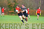 Brian Clifford Kenmare is challenged by Mairtin Ferris Ardfert during their Div 2 relegation play off in Listry on Sunday
