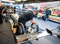 Sep 29, 2019; Madison, IL, USA; Crew members for NHRA top fuel driver Mike Salinas during the Midwest Nationals at World Wide Technology Raceway. Mandatory Credit: Mark J. Rebilas-USA TODAY Sports
