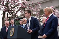 Matt Sause, President and CEO of Roche Diagnostics, speaks during a news conference with United States President Donald J. Trump, United States Vice President Mike Pence, members of the Coronavirus Task Force, and Industry Executives, in the Rose Garden at the White House in Washington D.C., U.S., on Friday, March 13, 2020.  Trump announced that he will be declaring a national emergency in response to the Coronavirus.  Credit: Stefani Reynolds / CNP/AdMedia