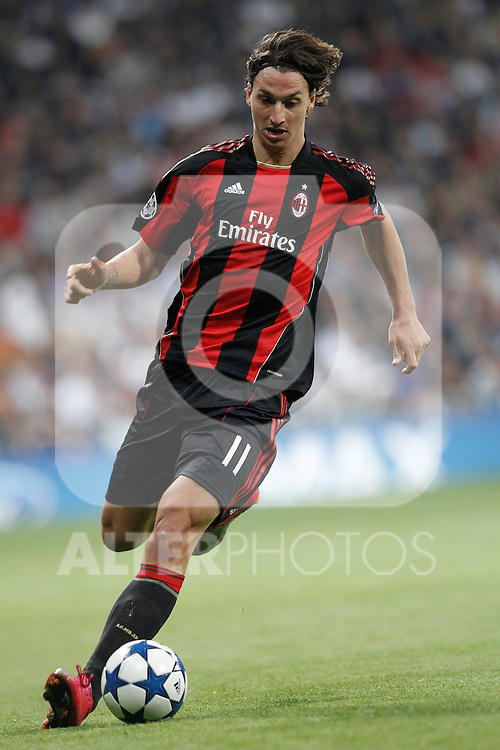 Milan's Zlatan Ibrahimovic during champions league match ..Photo: Cesar Cebolla  / ALFAQUI