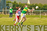 Kerry's Mags O'Donoghue, (capt) and Tyrone's Sinead McLaughlin..