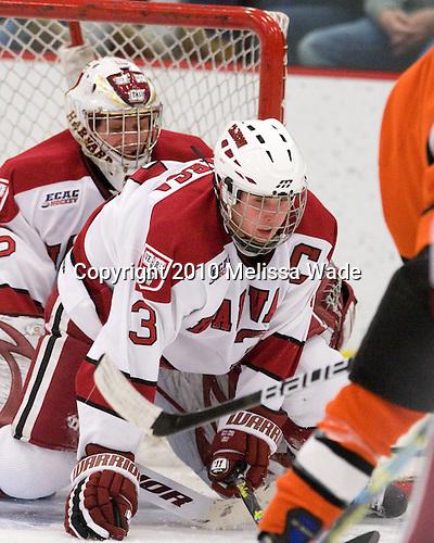 Ryan Carroll (Harvard - 35), Alex Biega (Harvard - 3) - The Princeton University Tigers defeated the Harvard University Crimson 2-1 on Friday, January 29, 2010, at Bright Hockey Center in Cambridge, Massachusetts.