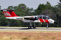 Mclellan based California Department of Forestry and Fire Protection OV-10 Bronco lands at the Grass Valley Air Attack Base. CalFire utilizes the North American Rockwell built OV-10 Bronco as a lead-in aircraft for the air tankers as well as an aerial platform from which the entire air operation is coordinated.