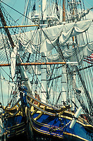 "Close up of rigging and sails on ""The Bounty"" traditional sailing ship."