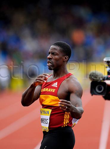 23.06.2012 Birmingham, England. AVIVA 2012  Athletics, Olympic Trials. Dwain Chambers, wins the Men's 100 Metres  at the Alexander Stadium.