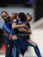 Sandie Toletti and Ghoutia Karchouni of France celebrate on beating Germany during the UEFA Womens U19 Semi-Final at Parc y Scarlets Wednesday 28th August 2013. All images are the copyright of Jeff Thomas Photography-www.jaypics.photoshelter.com-07837 386244-Any use of images must be authorised by the copyright owner.