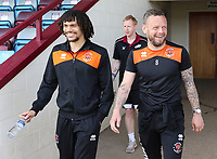 Blackpool's Jay Spearing (right) and Nya Kirby are in high spirits as they arrive at Glanford Park<br /> <br /> Photographer David Shipman/CameraSport<br /> <br /> The EFL Sky Bet League One - Scunthorpe United v Blackpool - Friday 19th April 2019 - Glanford Park - Scunthorpe<br /> <br /> World Copyright © 2019 CameraSport. All rights reserved. 43 Linden Ave. Countesthorpe. Leicester. England. LE8 5PG - Tel: +44 (0) 116 277 4147 - admin@camerasport.com - www.camerasport.com