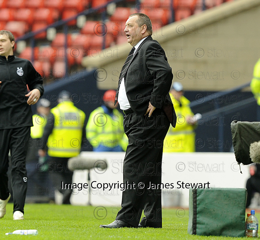 12/04/2008    Copyright Pic: James Stewart.File Name : sct_jspa37_qots_v_aberdeen.A DEJECTED LOOKING ABERDEEN MANAGER JIMMY CALDERWOOD WATCHES HIS SIDE BEATEN BY QUEEN OF THE SOUTH....James Stewart Photo Agency 19 Carronlea Drive, Falkirk. FK2 8DN      Vat Reg No. 607 6932 25.Studio      : +44 (0)1324 611191 .Mobile      : +44 (0)7721 416997.E-mail  :  jim@jspa.co.uk.If you require further information then contact Jim Stewart on any of the numbers above........