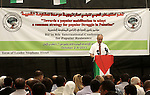 Palestinian Prime Minister Rami Hamdallah speaks during the 8th Annual Bilin Conference on the Palestinian Popular Struggle in Bilin, West Bank, 02 October 2013. The annual conference has become a platform for debate by the popular committees, as well as local and international activists, over the Palestinian struggle. Photo by Issam Rimawi