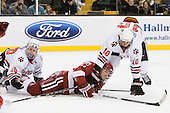 Mike Hewkin (Northeastern - 28), Michael Biega (Harvard - 27), Steve Quailer (Northeastern - 10) - The Northeastern University Huskies defeated the Harvard University Crimson 4-0 in their Beanpot opener on Monday, February 7, 2011, at TD Garden in Boston, Massachusetts.