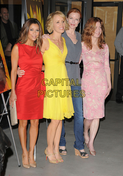 "EVA LONGORIA PARKER, FELICITY HUFFMAN, MARCIA CROSS & DANA DELANY .at The ThinkFilm Special Screening of ""Phoebe in Wonderland"" held at The WGA in Beverly Hills, California, USA, .March 1st 2009.                                                                     .full length red coral orange bright yellow long hair extensions smiling beige christian Louboutin shoes heels patent mary janes jane pink print jeans wedges grey gray top skinny waist belt black.CAP/DVS.©RockinExposures/Capital Pictures"