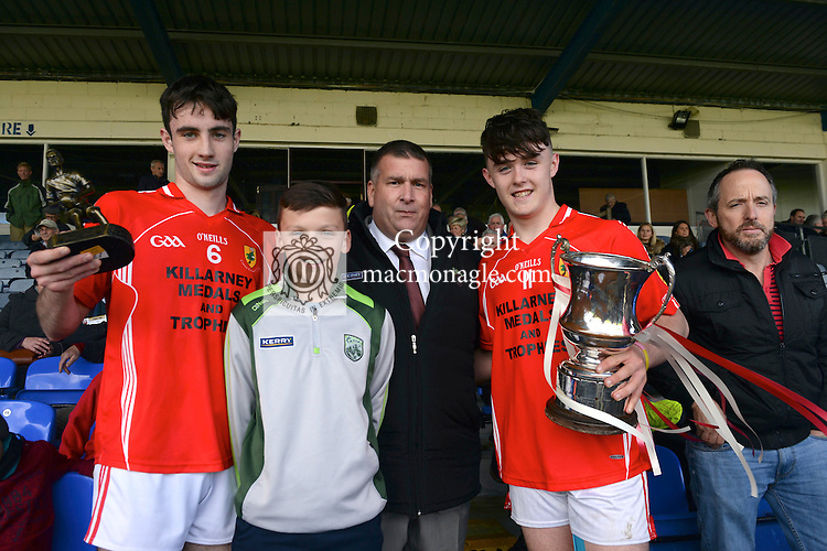 23-10-2016: East Kerry captain David Spillane and Man of the Match Daniel Breen with Patrick O'Sullivan, Chairman, Kerry County Board and Micheal Keane after the Keane's Supervalu Kerry Minor Football Final at Fitzgerald Stadium, Killarney on Sunday.<br /> Photo: Don MacMonagle