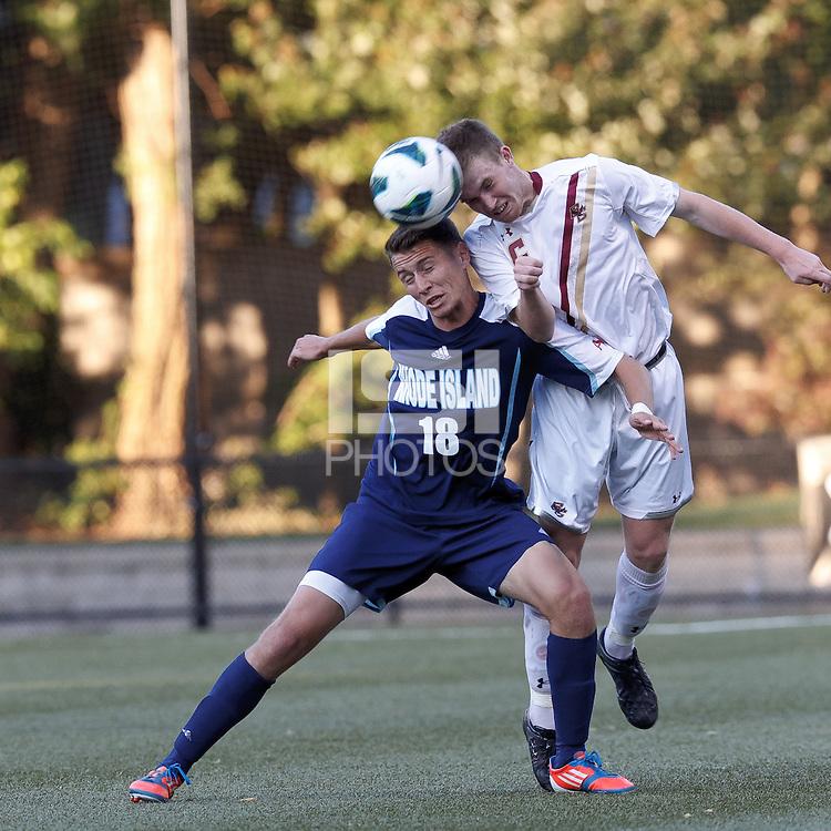 University of Rhode Island (URI) midfielder Mike Casey (18) and Boston College midfielder Jason Abbott (6) battle for head ball. Boston College defeated University of Rhode Island, 4-2, at Newton Campus Field, September 25, 2012.