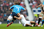 England's Jonathan Joseph tackles Italy's Francesco Minto - RBS 6 Nations - England vs Italy - Twickenham Stadium - London - 14/02/2015 - Pic Charlie Forgham-Bailey/Sportimage