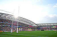 A general view of the Brighton Community Stadium as the teams line up for the national anthems. Rugby World Cup Pool B match between South Africa and Japan on September 19, 2015 at the Brighton Community Stadium in Brighton, England. Photo by: Patrick Khachfe / Onside Images