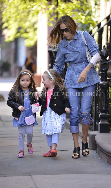 WWW.ACEPIXS.COM....April 26 2013, New York City....Sarah Jessica Parker takes twins Tabitha and Marion to school on April 26 2013 in New York City......By Line: Curtis Means/ACE Pictures......ACE Pictures, Inc...tel: 646 769 0430..Email: info@acepixs.com..www.acepixs.com